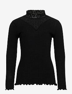 Organic t-shirt regular ls w/ lace - langermede t-skjorter - black