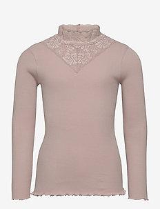 Organic t-shirt regular ls w/ lace - langermede t-skjorter - vintage powder