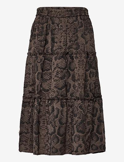 Recycled polyester skirt - röcke - smoaked oak snake print
