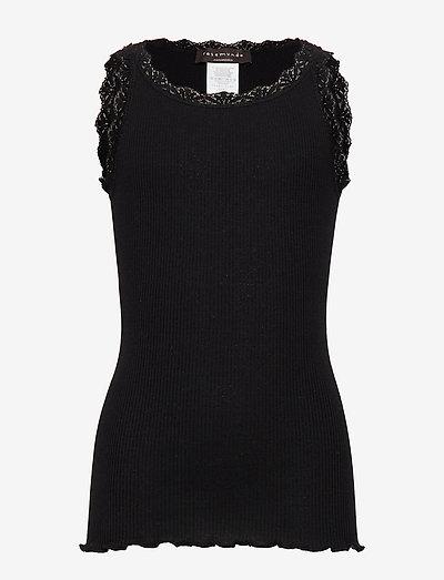 Silk top w/ lace - sans manches - black