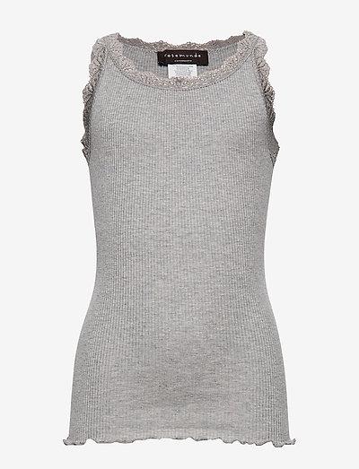 Silk top w/ lace - Ärmellose - light grey melange