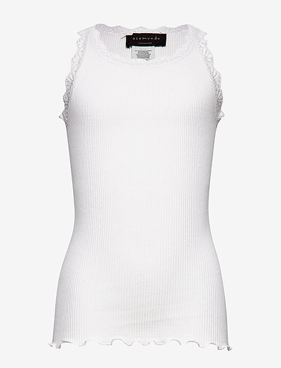 Silk top w/ lace - sans manches - new white