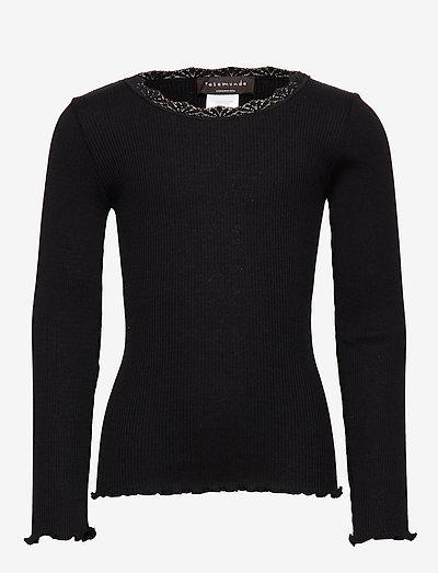 Silk t-shirt ls w/ lace - t-shirts - black