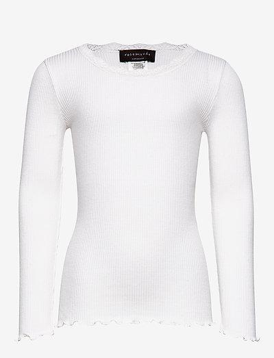 Silk t-shirt ls w/ lace - t-shirts - new white