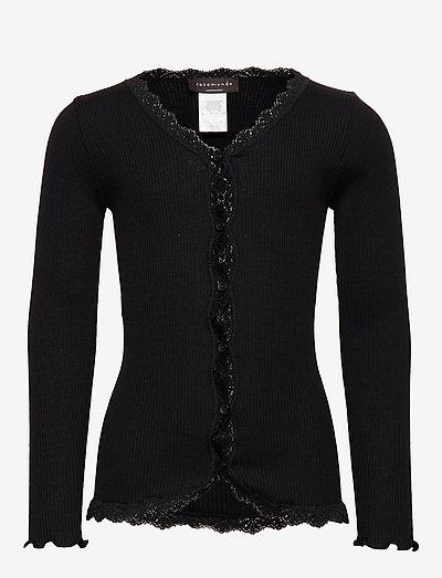Silk cardigan regular ls w/ lace - gilets - black