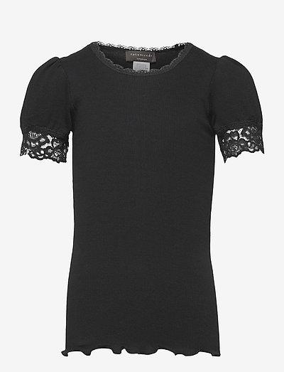 Organic t-shirt regular ss w/ lace - chemisiers & tuniques - black