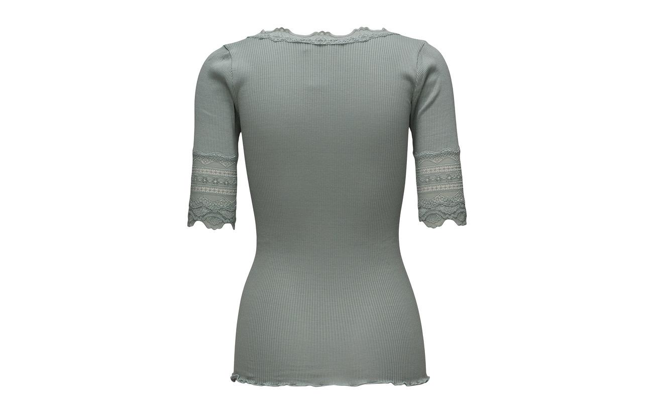 Ss W 30 Coton Regular Lace Rosemunde Soie shirt Vintage Silk Powder wide T 70 qSwnBAU