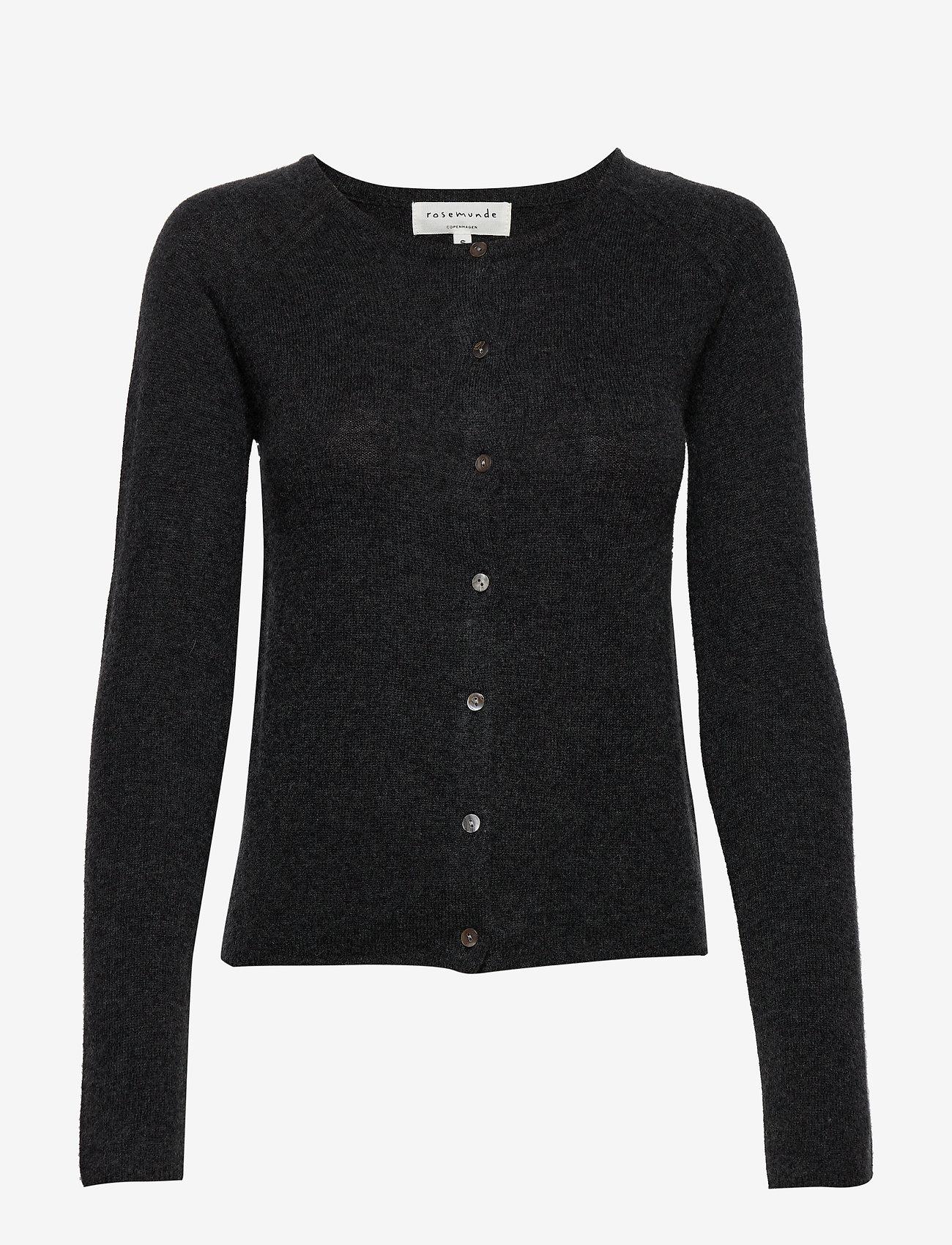 Rosemunde - Wool & cashmere cardigan ls - koftor - dark grey melange - 0