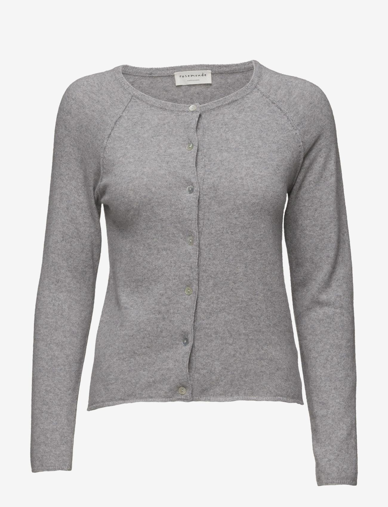 Rosemunde - Wool & cashmere cardigan ls - koftor - light grey melange - 1