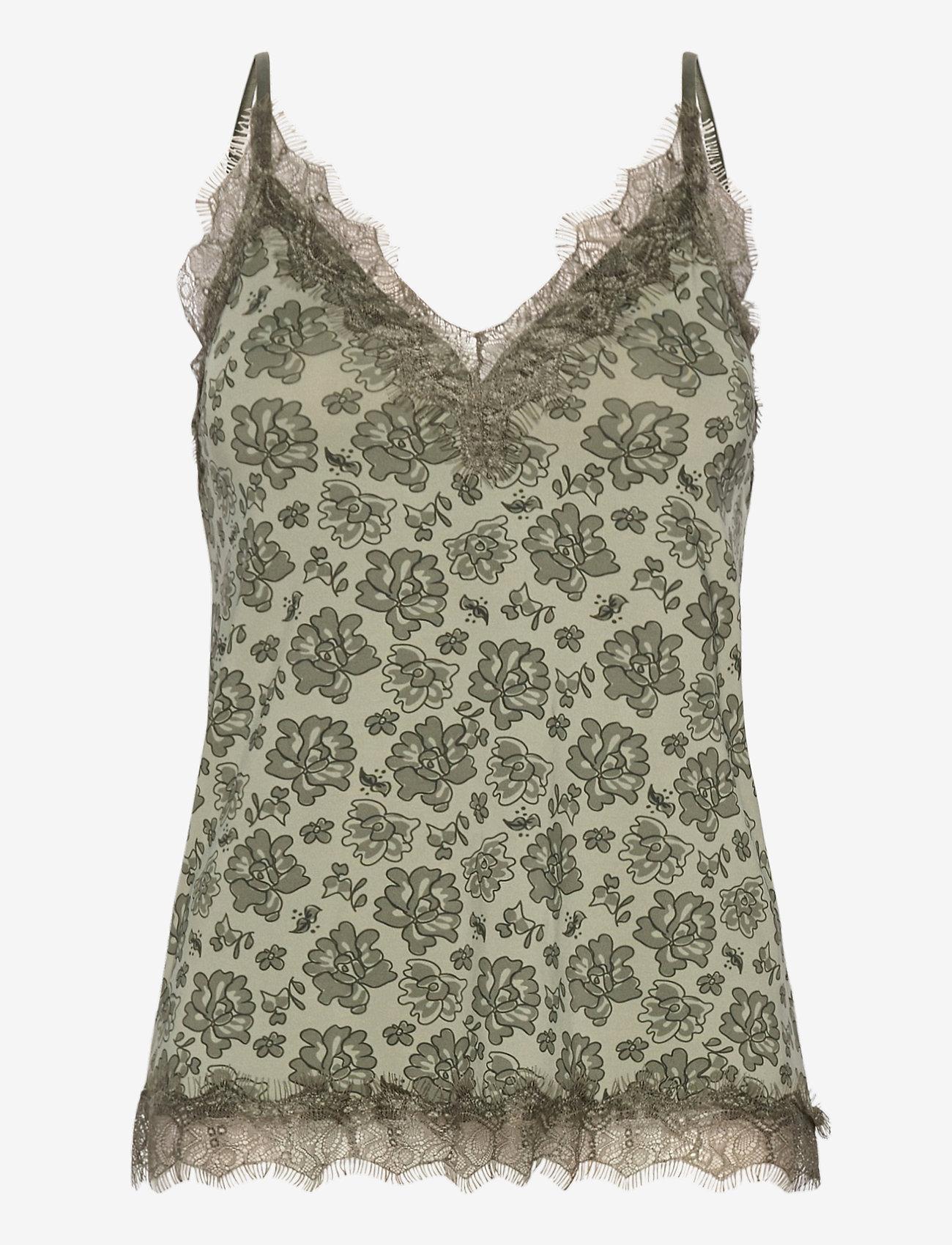 Rosemunde - Strap top - hihattomat puserot - seagrass rose lace print - 0