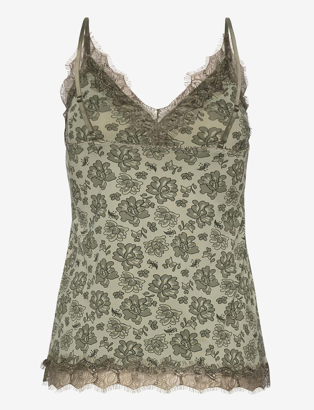 Rosemunde - Strap top - hihattomat puserot - seagrass rose lace print - 1