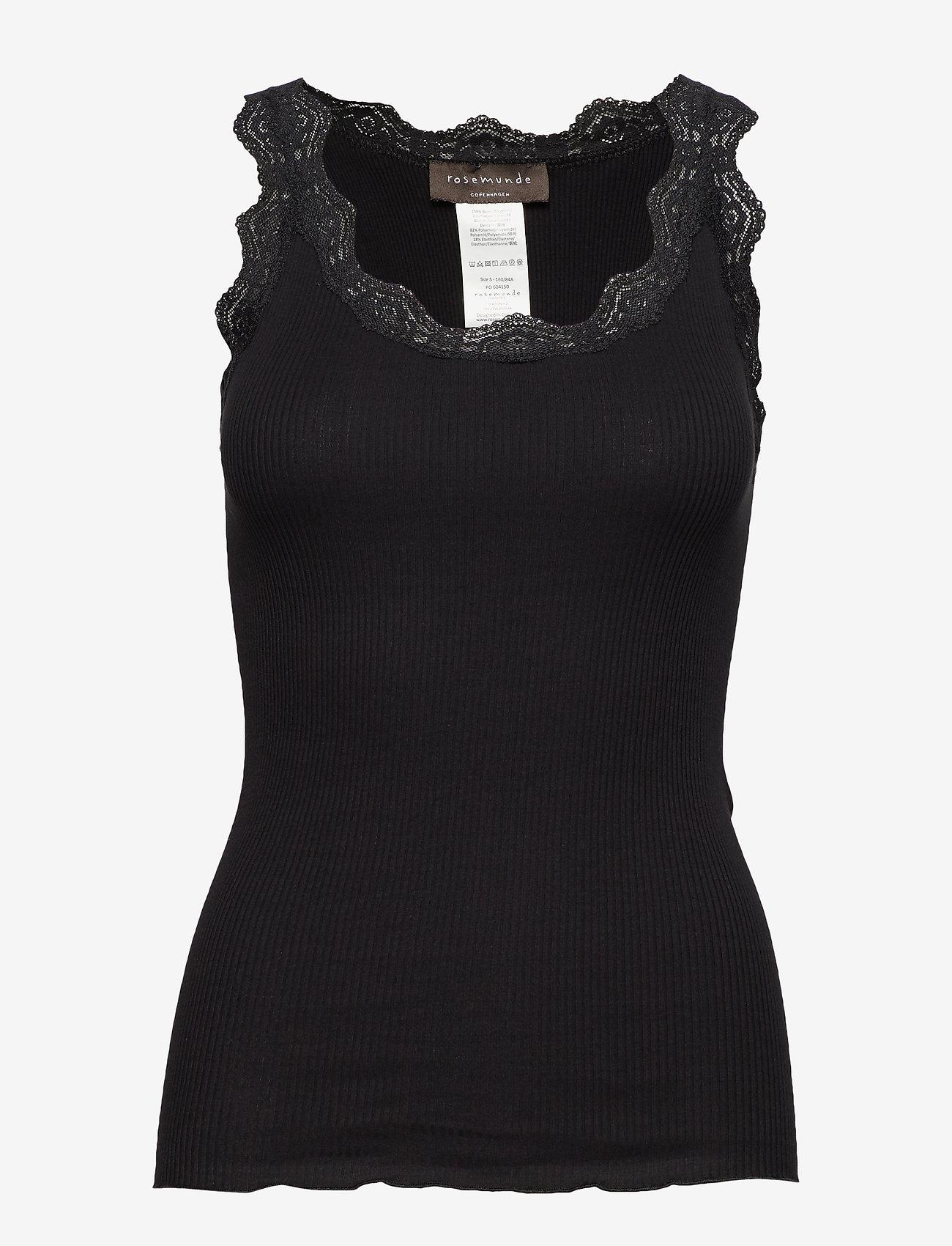 Rosemunde - Organic top w/ lace - tops zonder mouwen - black - 0
