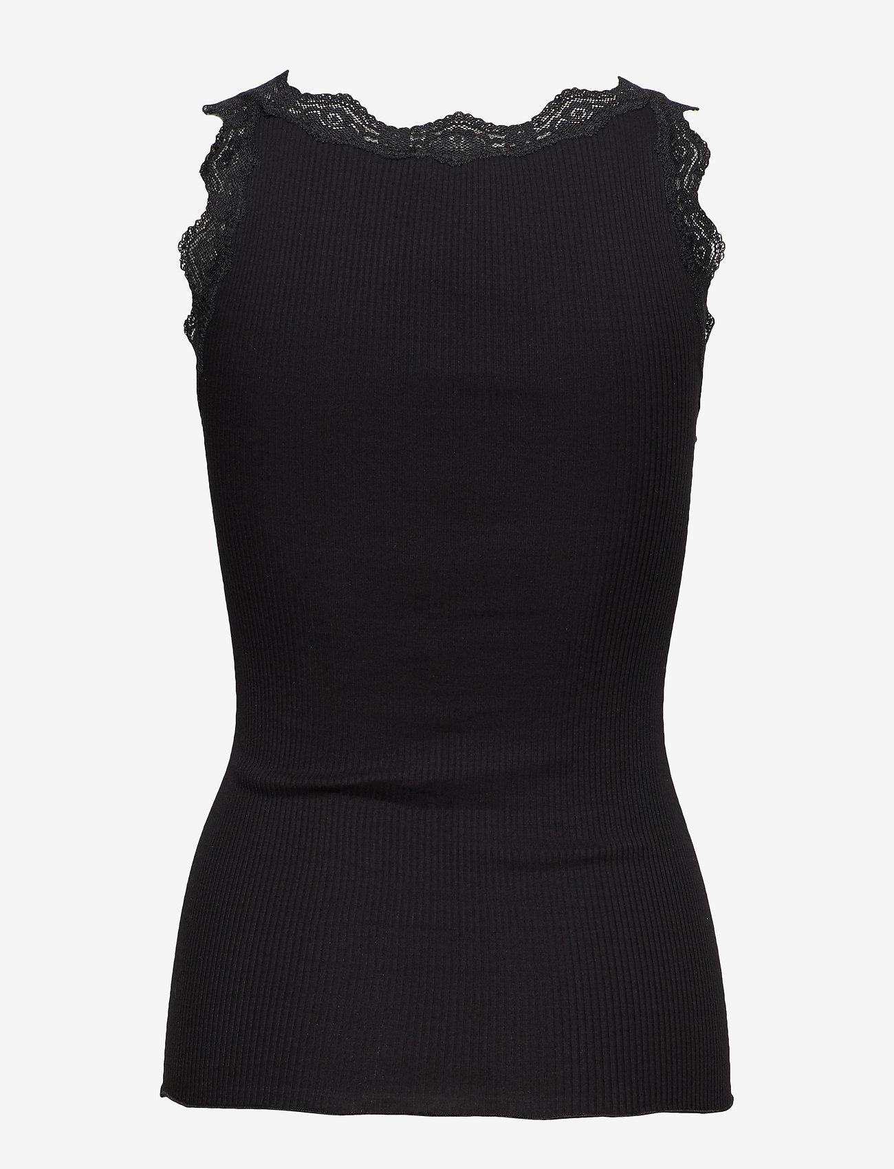 Rosemunde - Organic top w/ lace - linnen - black - 1