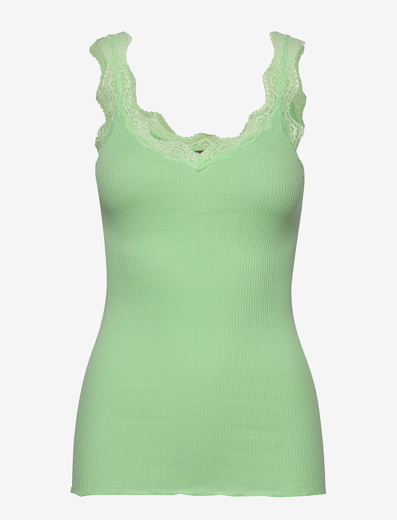 Rosemunde - Organic top regular w/ lace - ermeløse topper - green ash