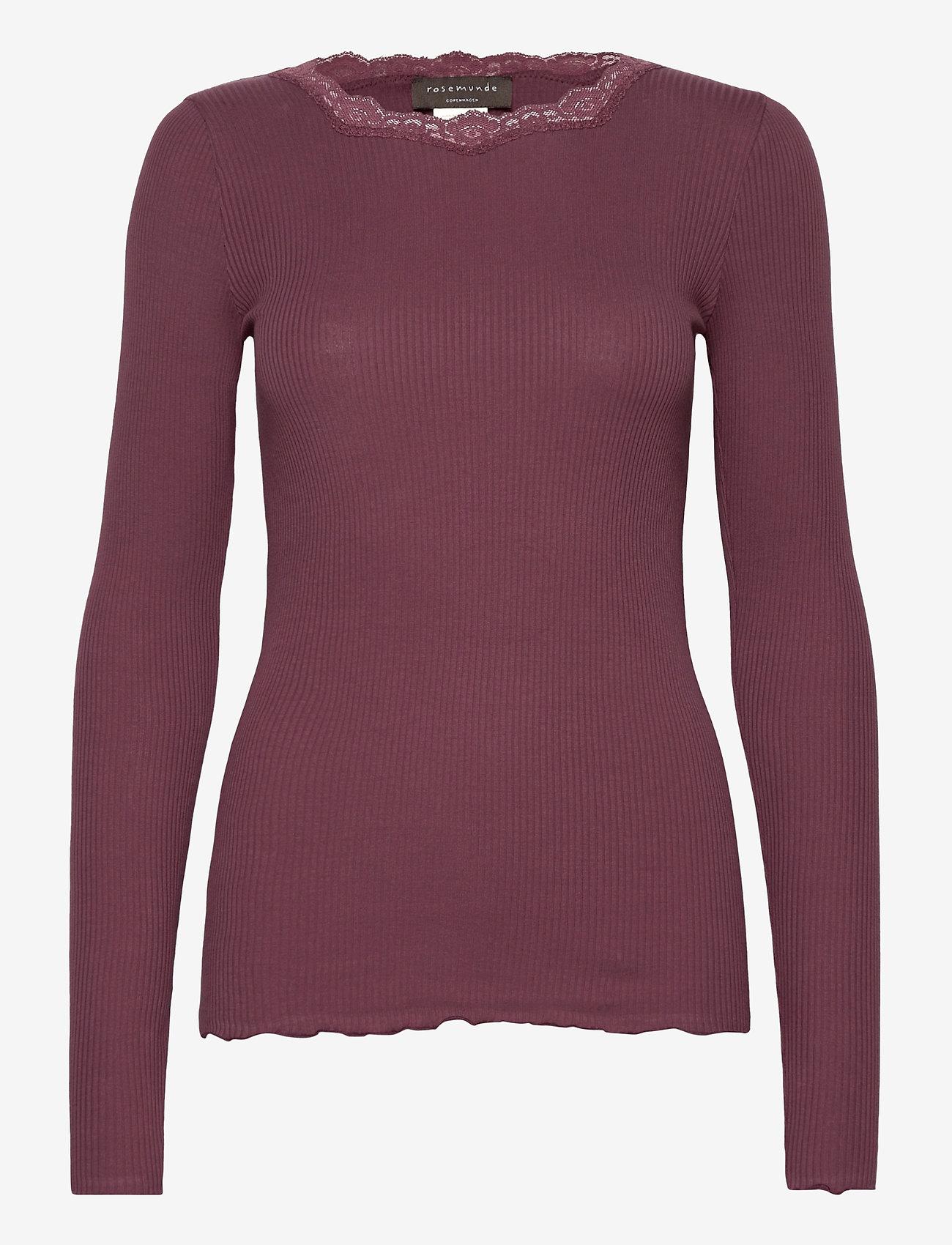 Rosemunde - Organic t-shirt regular w/lace - långärmade toppar - grape - 0