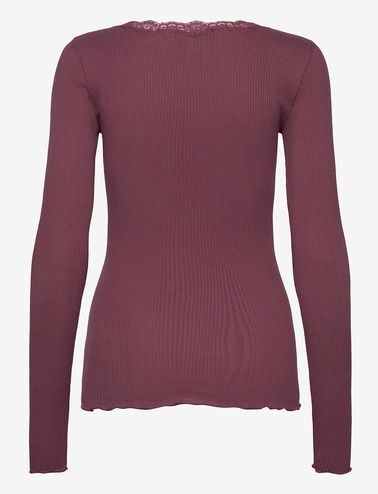 Rosemunde - Organic t-shirt regular w/lace - långärmade toppar - grape - 1