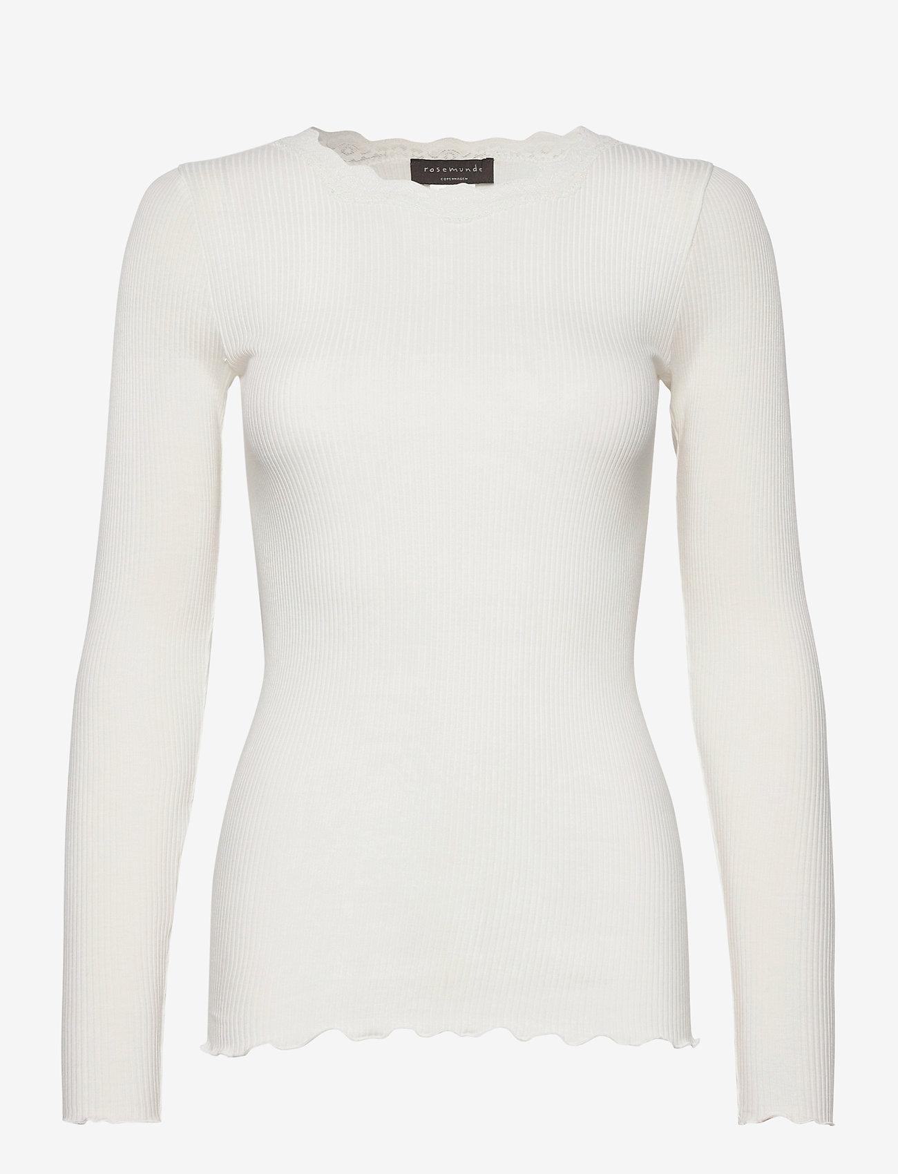 Rosemunde - Organic t-shirt regular w/lace - långärmade toppar - ivory - 0
