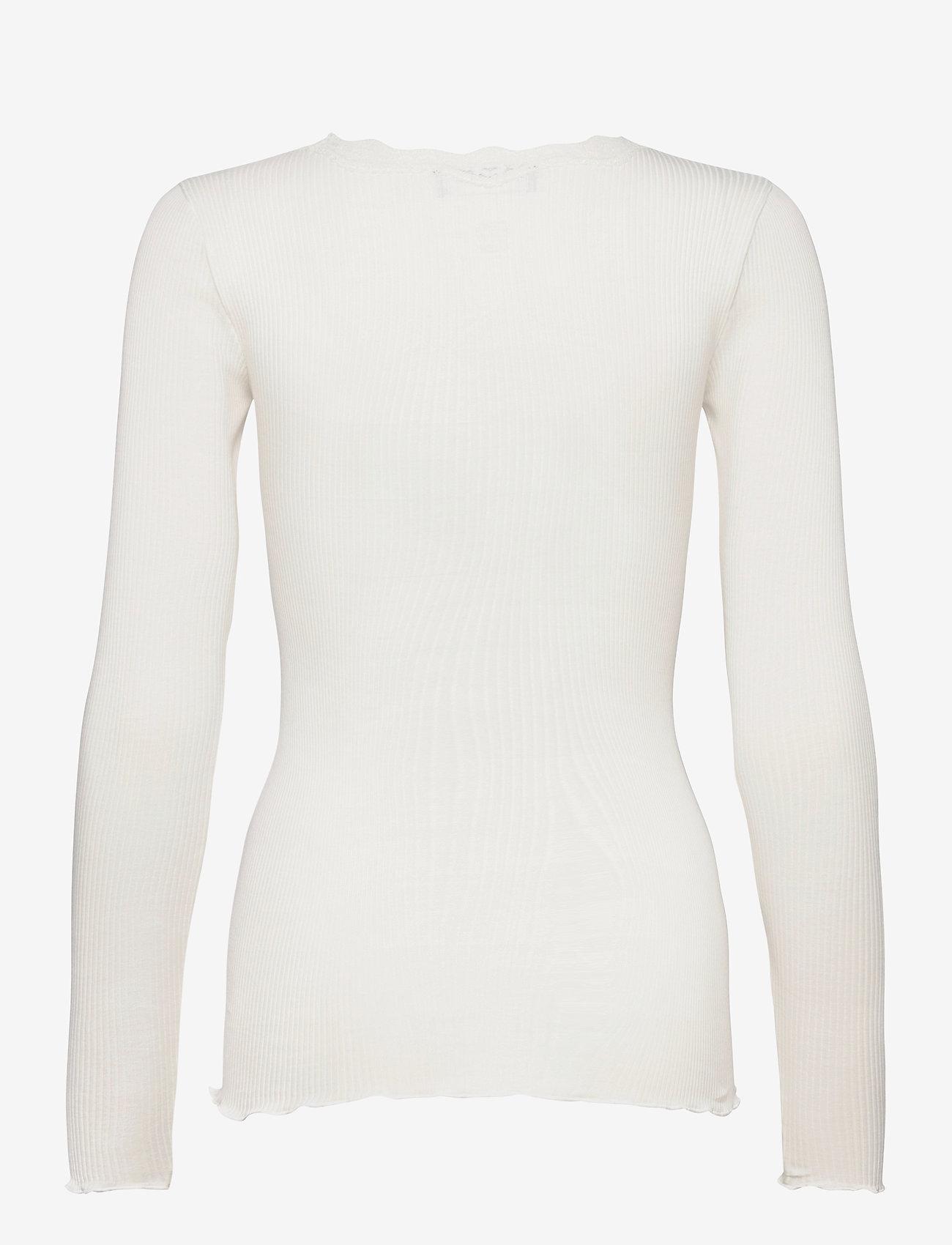 Rosemunde - Organic t-shirt regular w/lace - långärmade toppar - ivory - 1