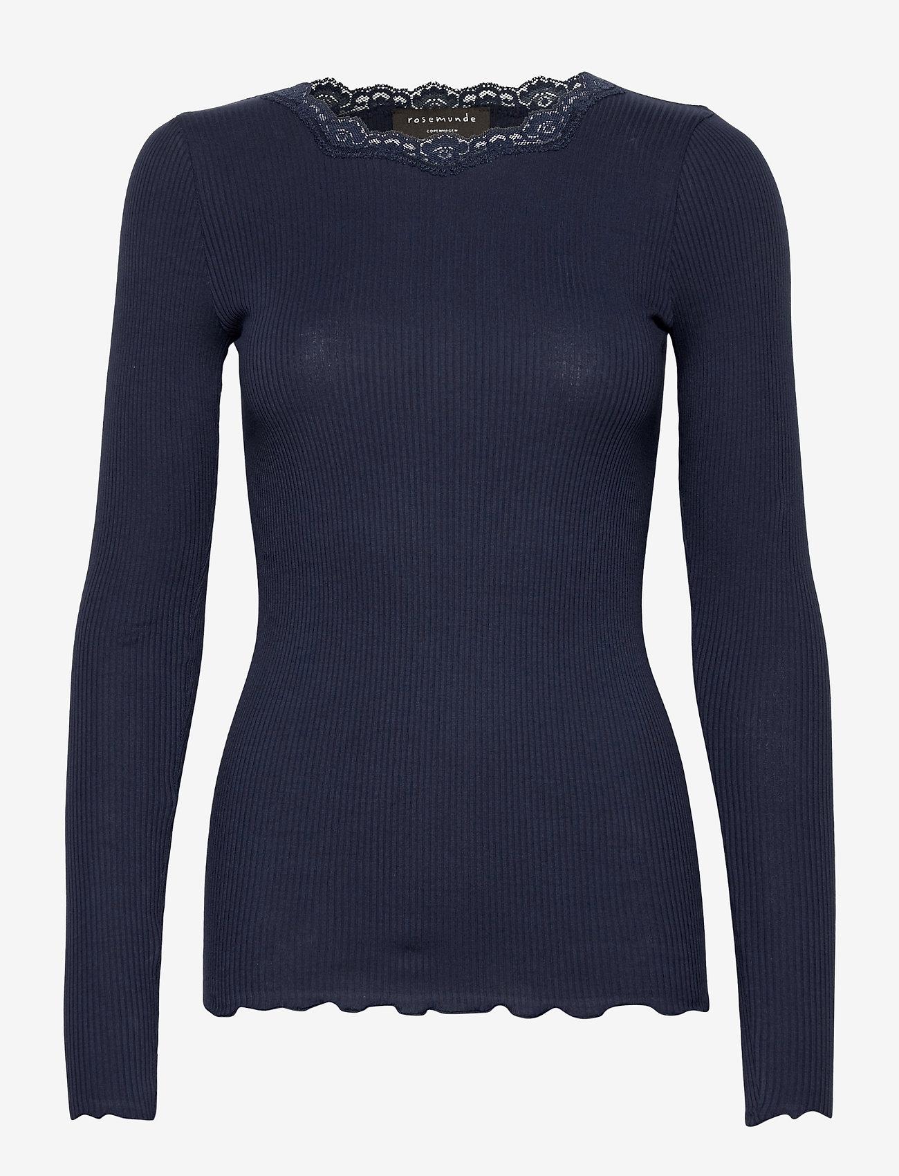 Rosemunde - Organic t-shirt regular w/lace - långärmade toppar - navy - 0