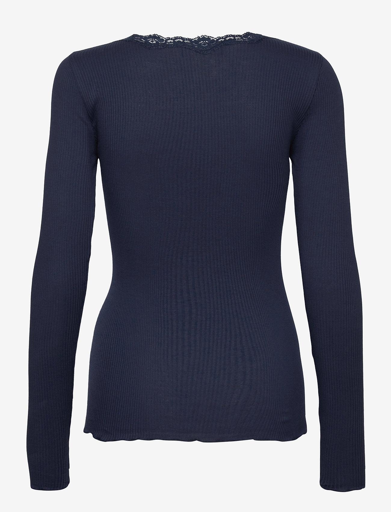 Rosemunde - Organic t-shirt regular w/lace - långärmade toppar - navy - 1