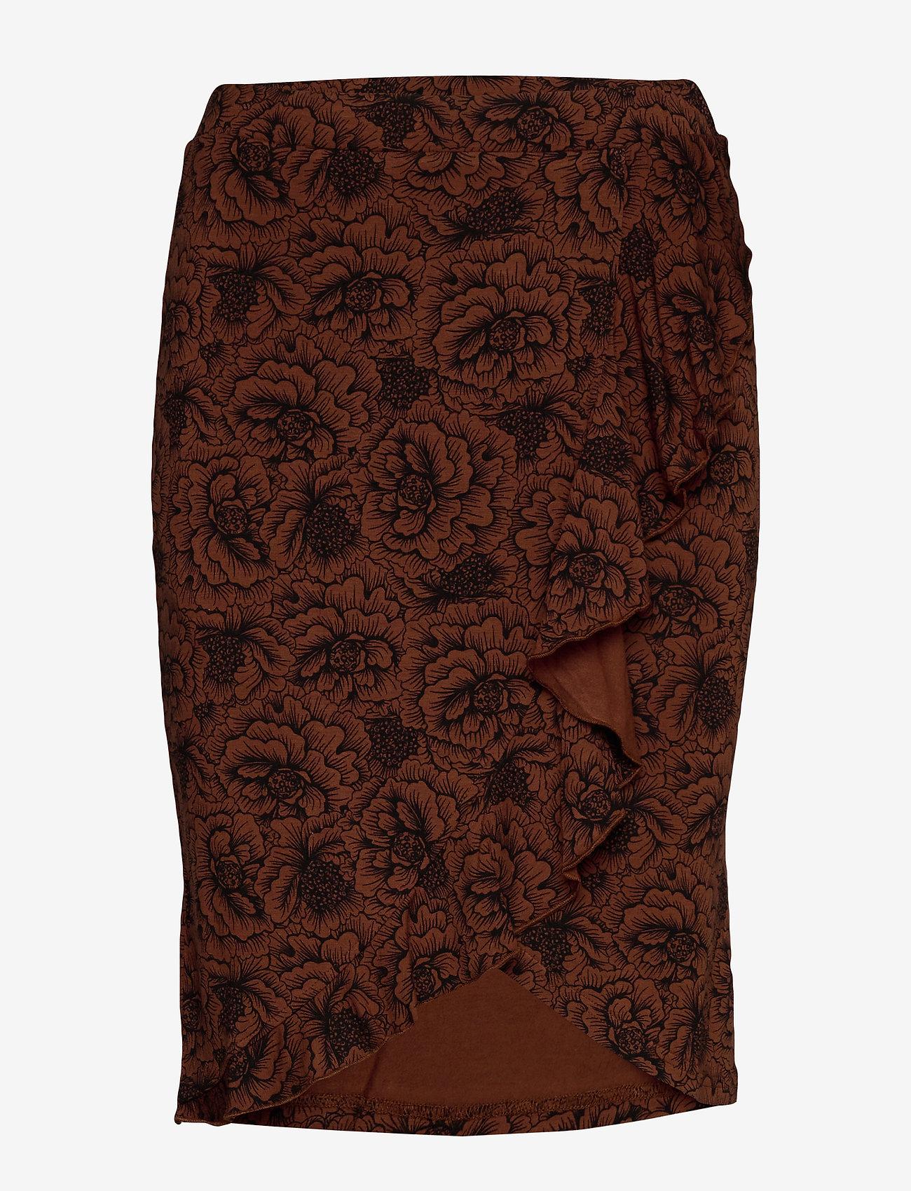 Rosemunde - Skirt - midi - amber brown rose print - 0