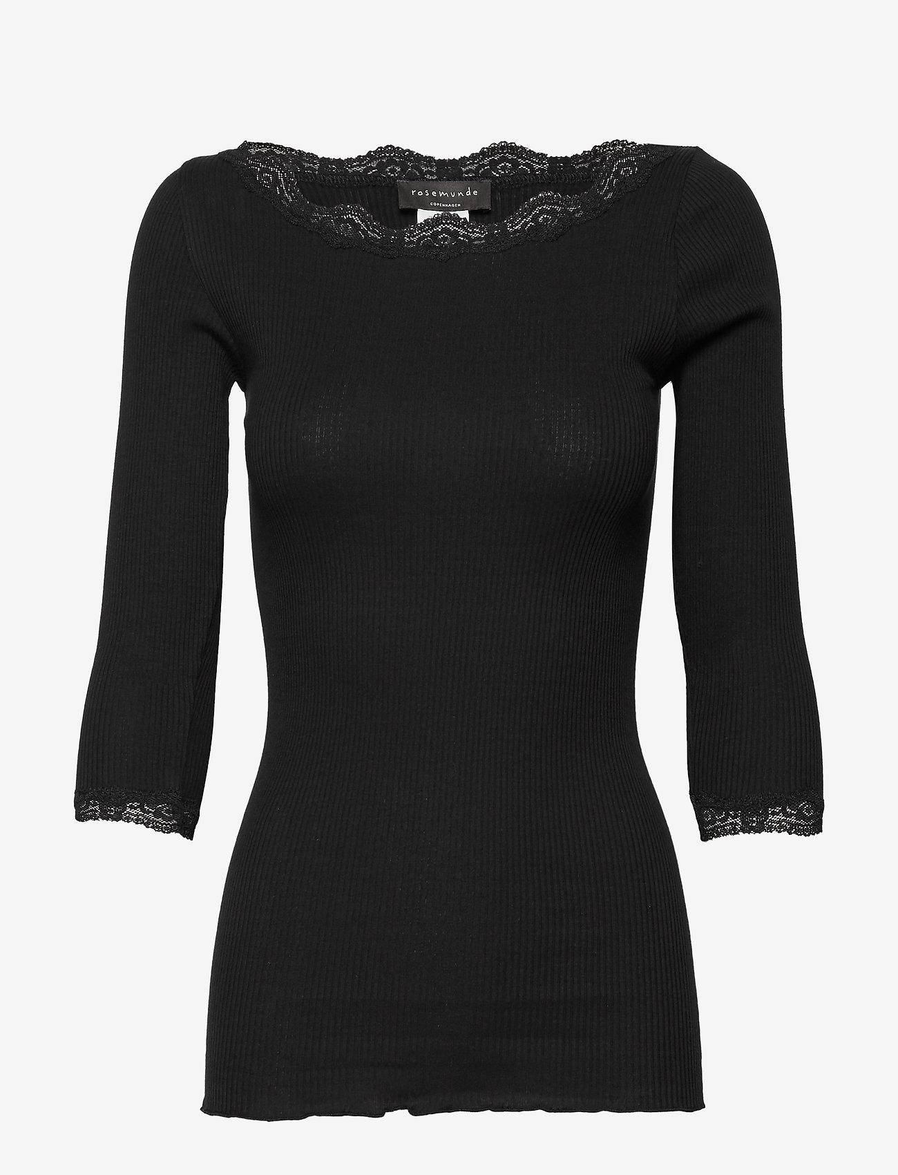 Rosemunde - Organic t-shirt boat neck w/lace - långärmade toppar - black - 0