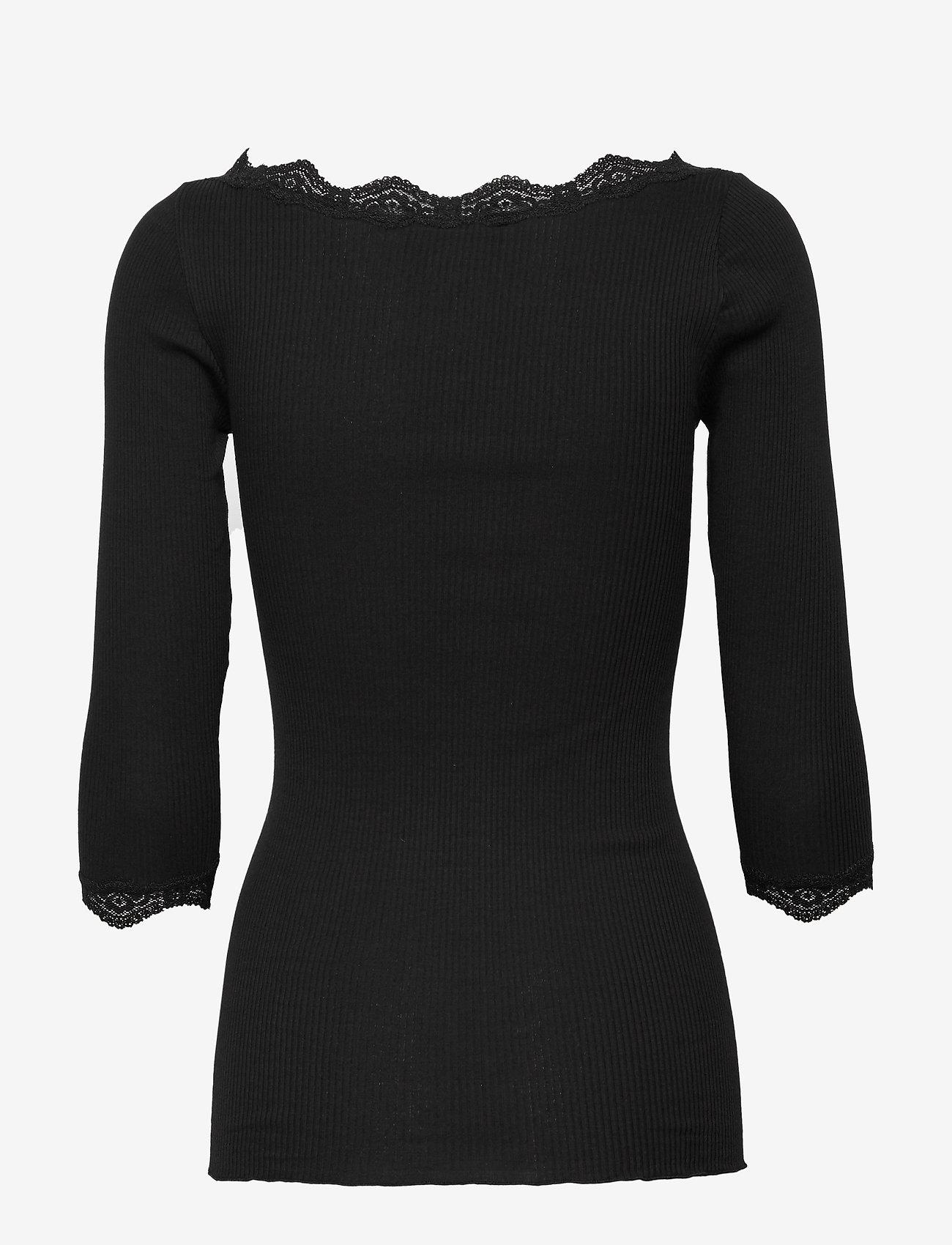 Rosemunde - Organic t-shirt boat neck w/lace - långärmade toppar - black - 1