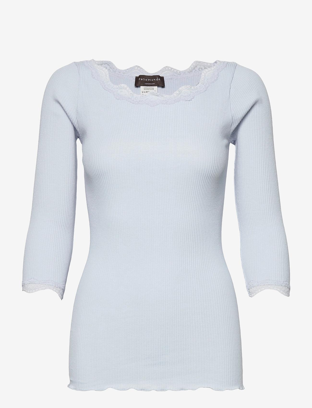 Rosemunde - Organic t-shirt boat neck w/lace - långärmade toppar - heather sky - 0