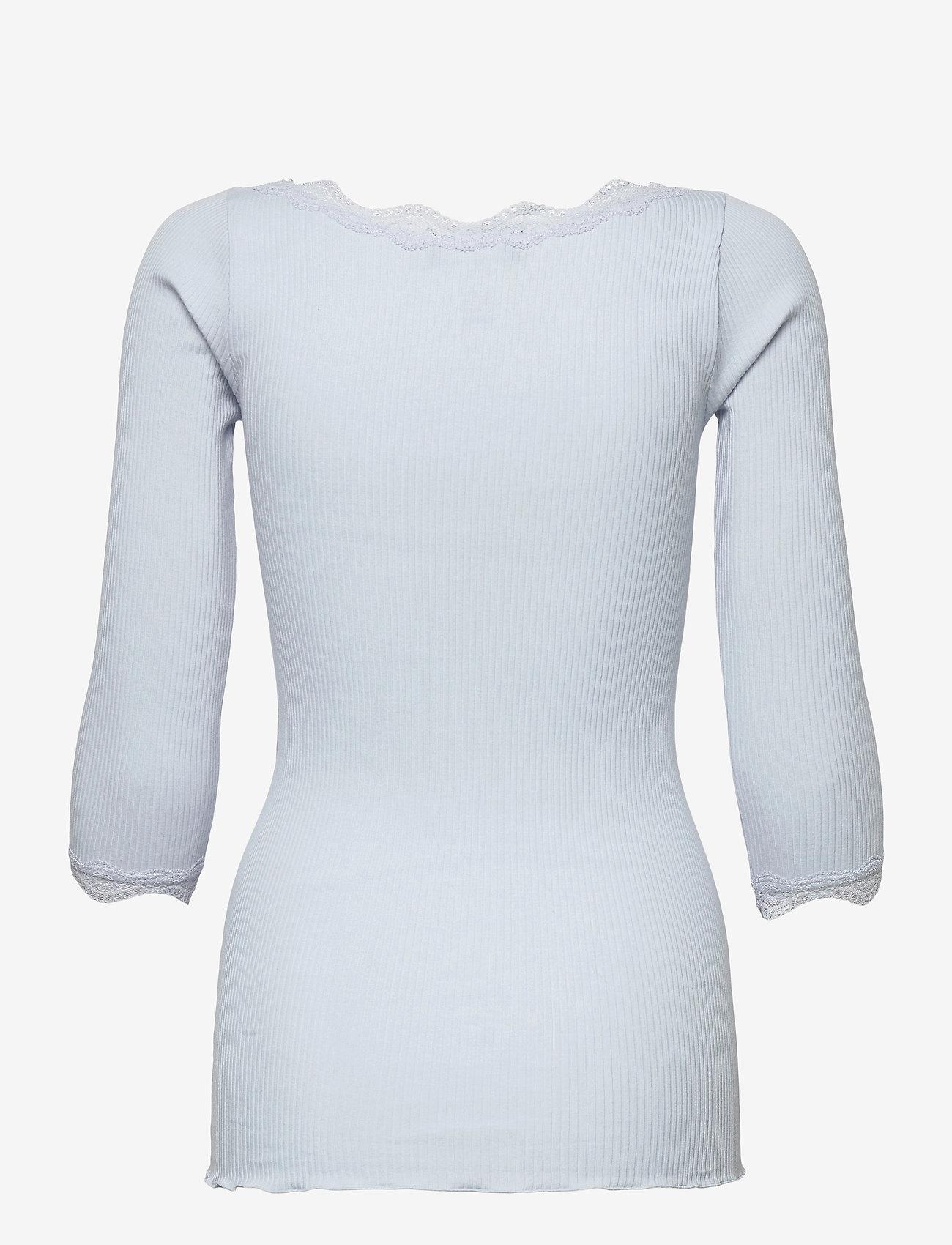 Rosemunde - Organic t-shirt boat neck w/lace - långärmade toppar - heather sky - 1