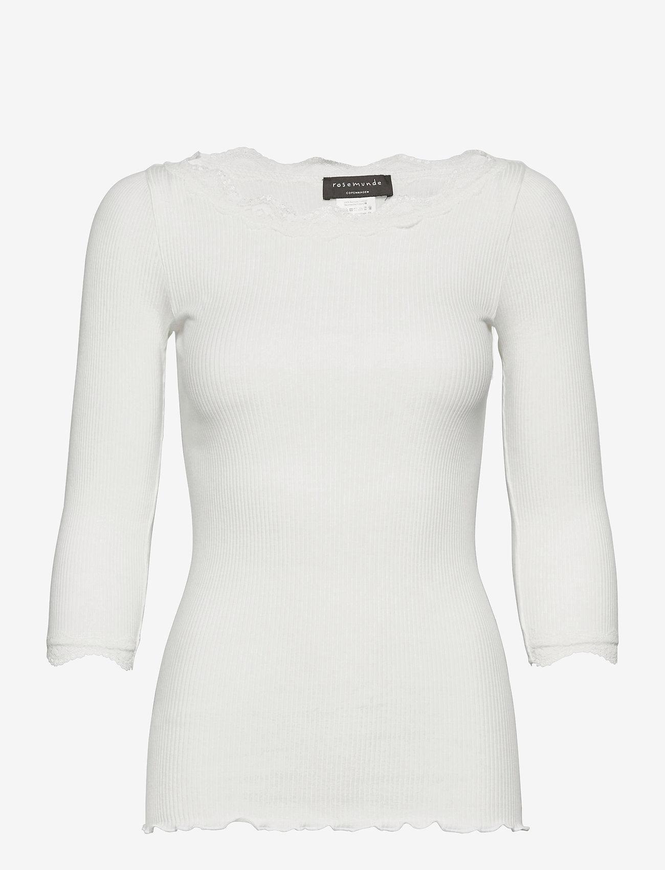 Rosemunde - Organic t-shirt boat neck w/lace - långärmade toppar - ivory - 0