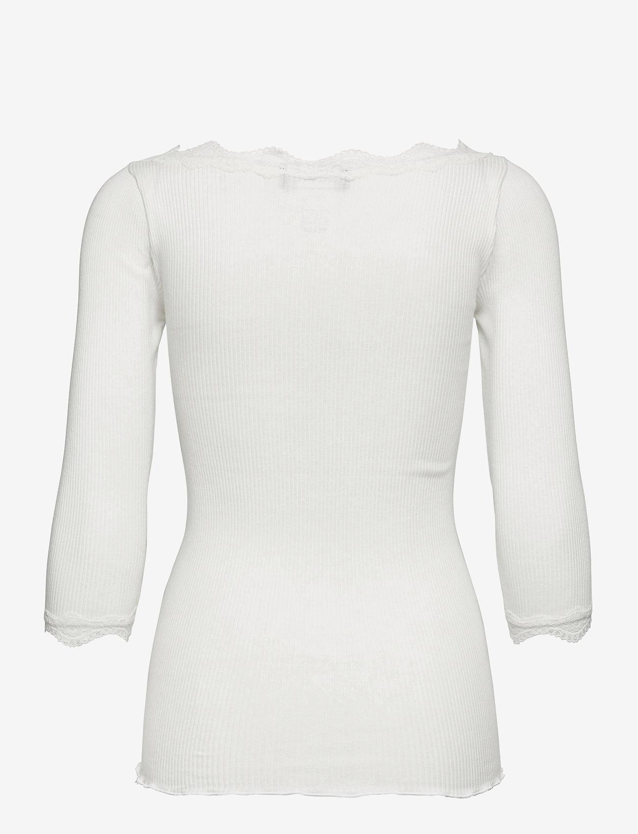Rosemunde - Organic t-shirt boat neck w/lace - långärmade toppar - ivory - 1