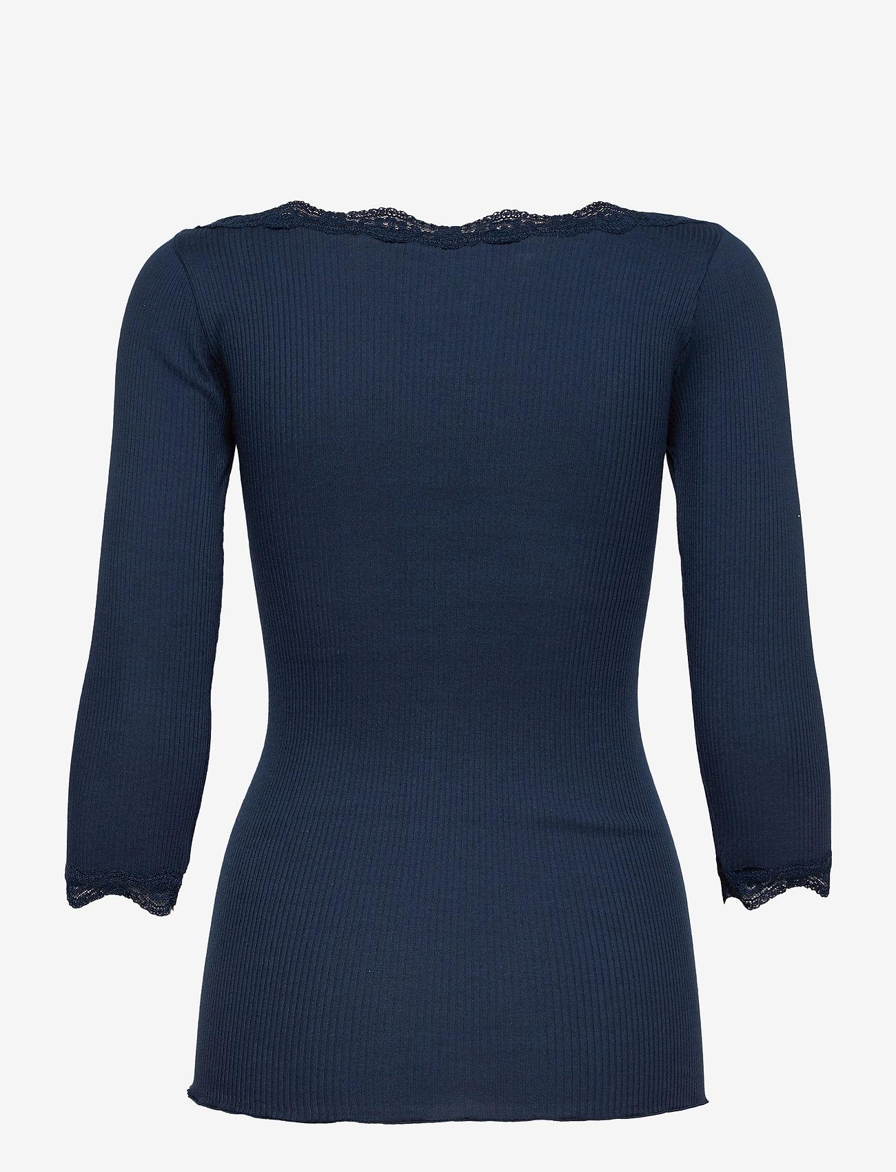 Rosemunde - Organic t-shirt boat neck w/lace - långärmade toppar - navy - 1