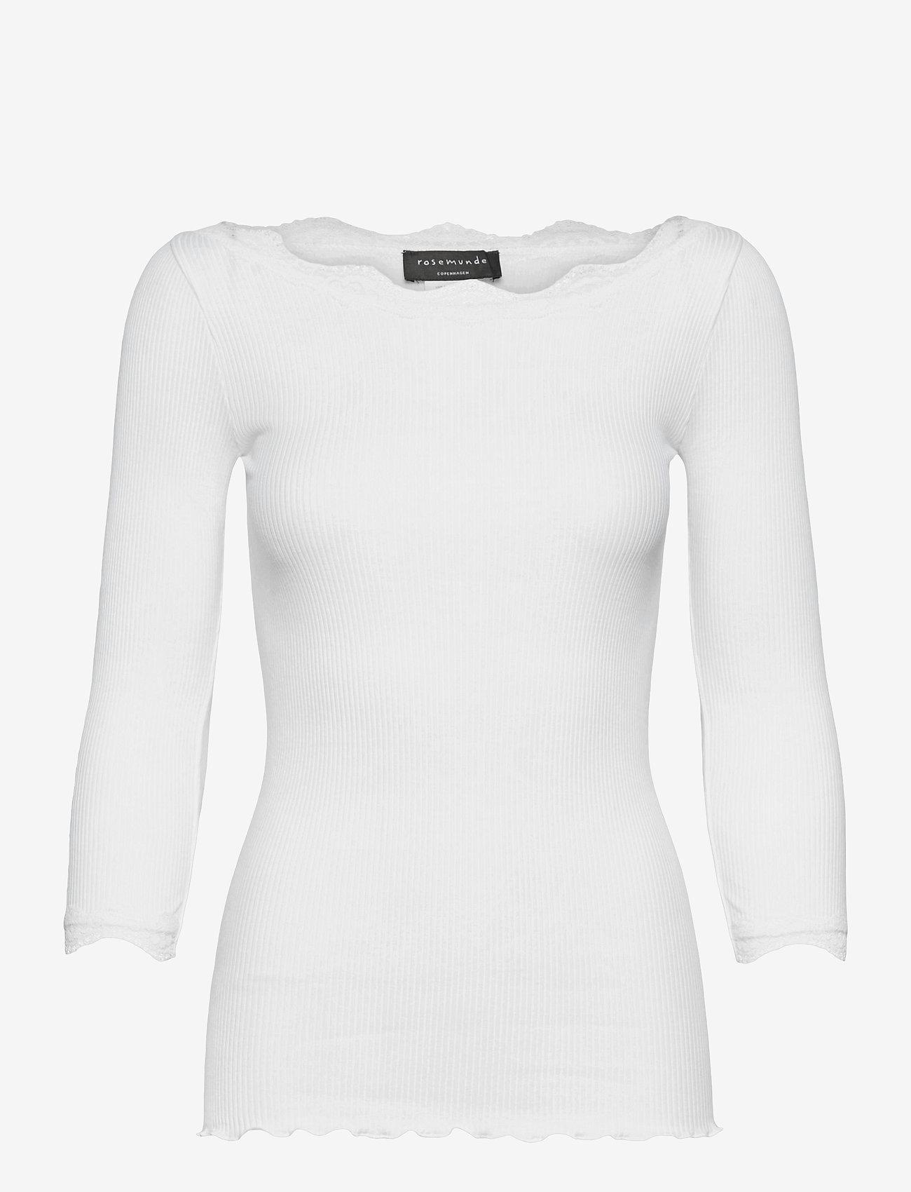 Rosemunde - Organic t-shirt boat neck w/lace - långärmade toppar - new white - 0