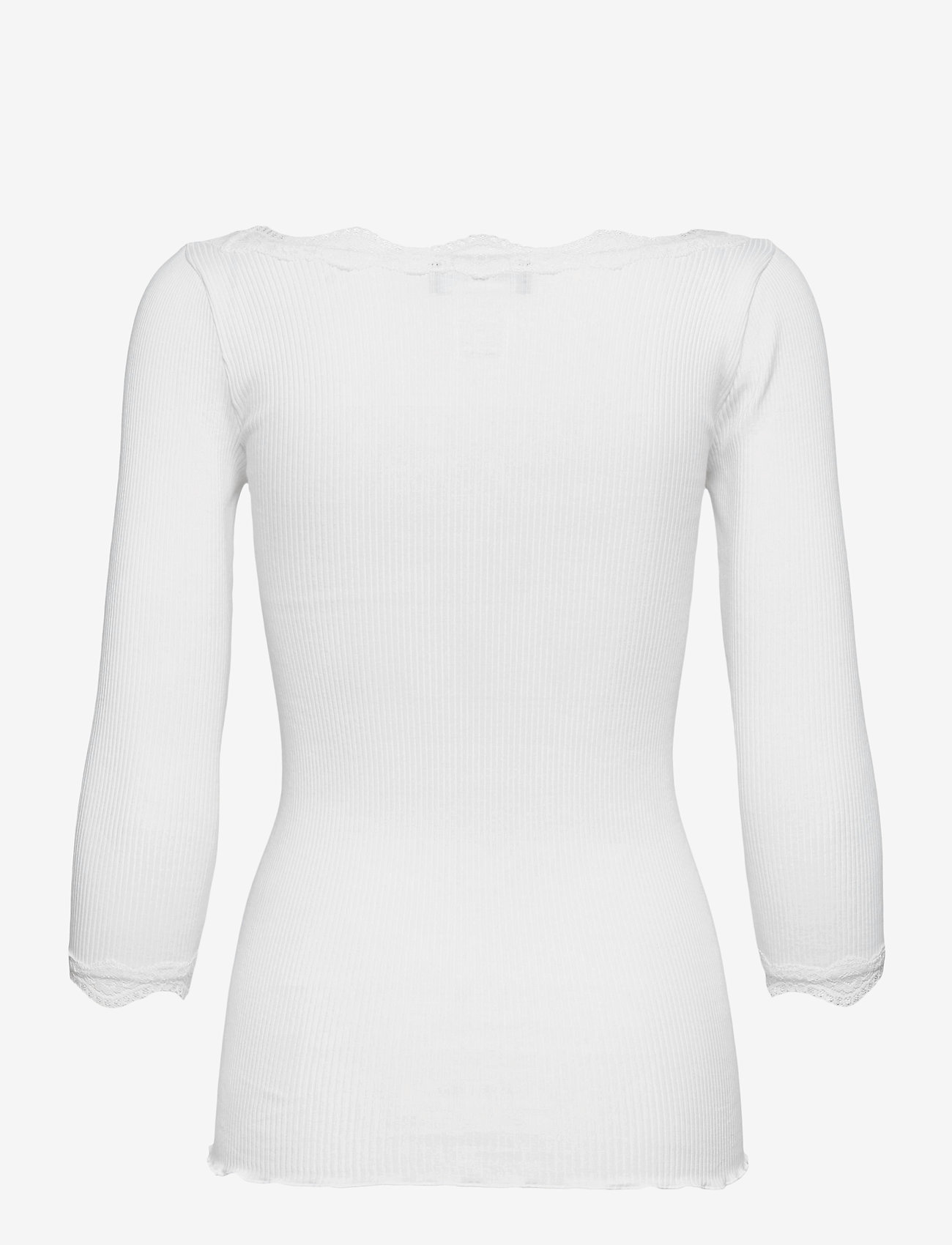 Rosemunde - Organic t-shirt boat neck w/lace - långärmade toppar - new white - 1