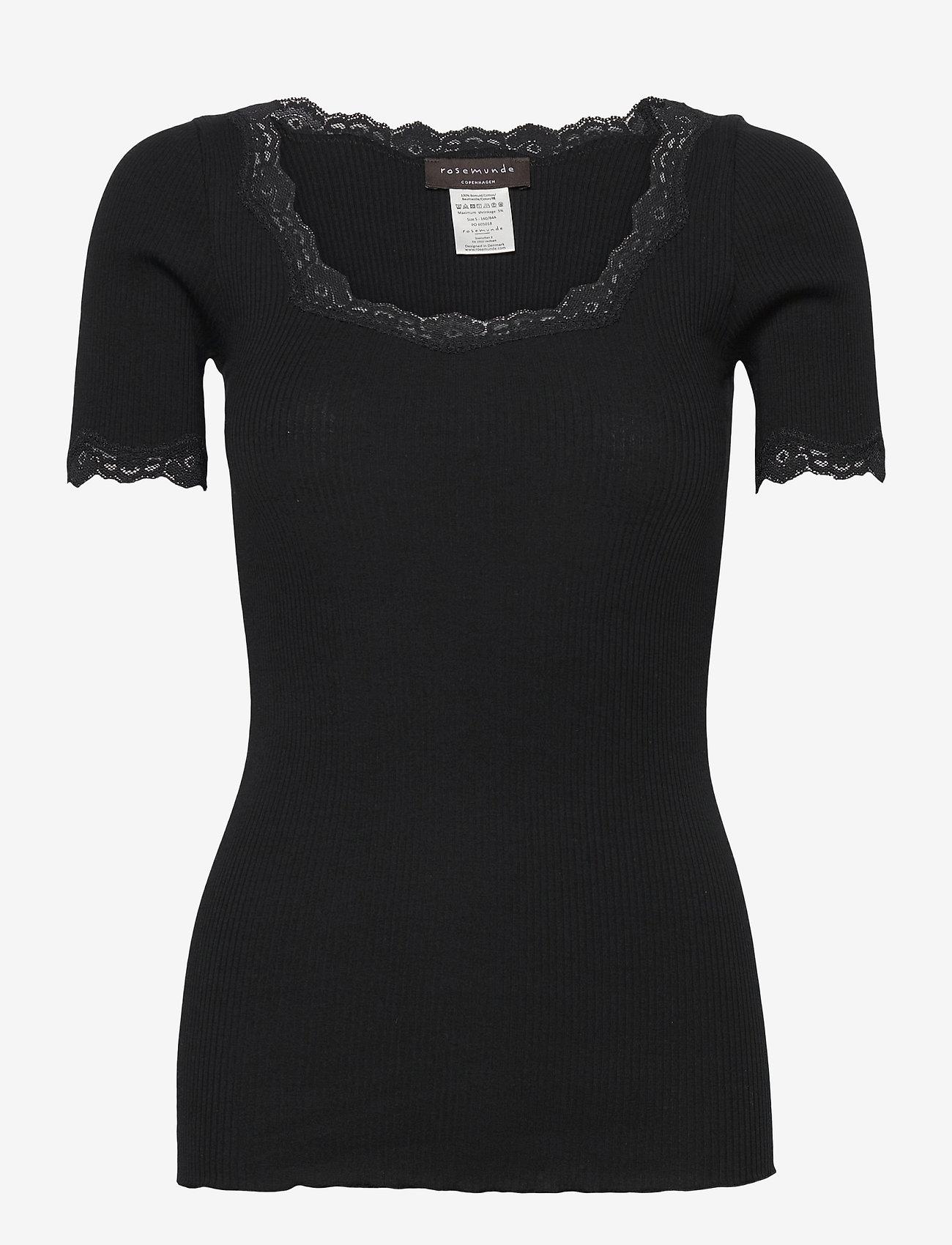 Rosemunde - Organic t-shirt regular ss w/ rev,v - t-shirts - black - 0