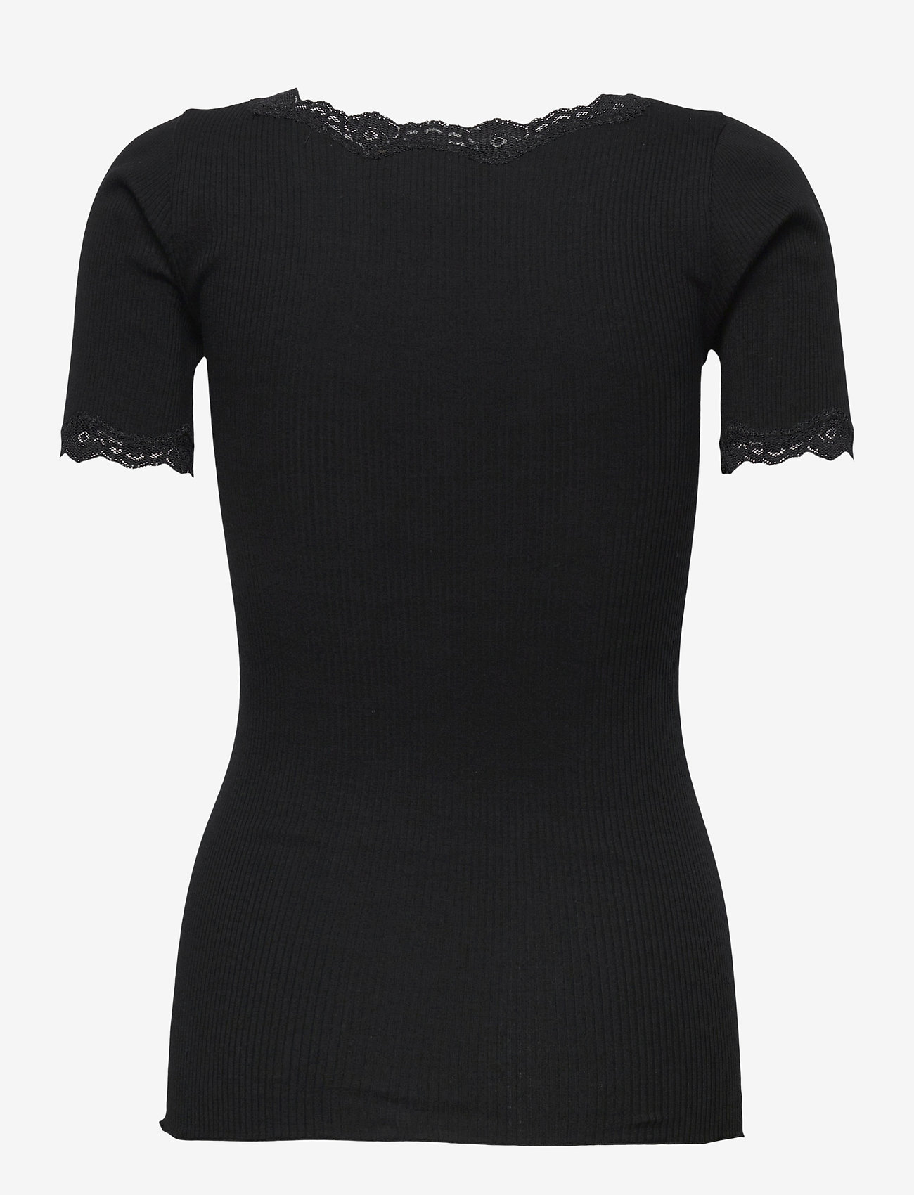 Rosemunde - Organic t-shirt regular ss w/ rev,v - t-shirts - black - 1