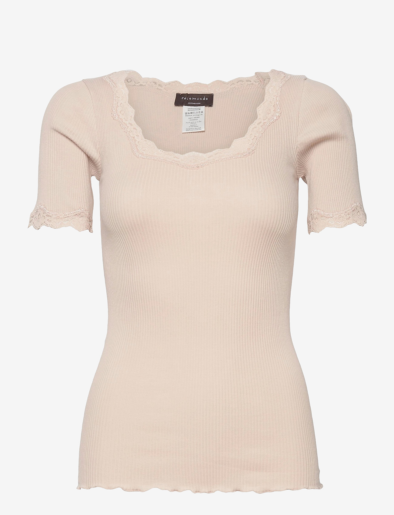Rosemunde - Organic t-shirt regular ss w/ rev,v - t-shirts - cacao - 0