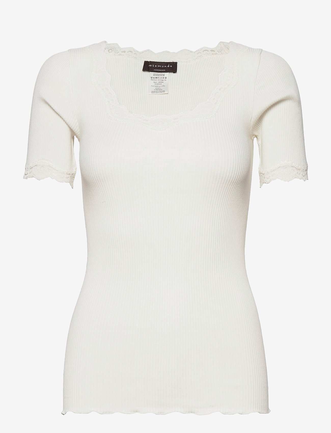 Rosemunde - Organic t-shirt regular ss w/ rev,v - t-shirts - ivory - 0