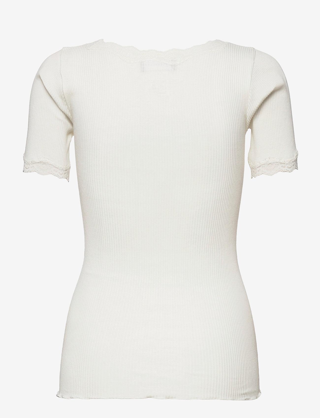 Rosemunde - Organic t-shirt regular ss w/ rev,v - t-shirts - ivory - 1