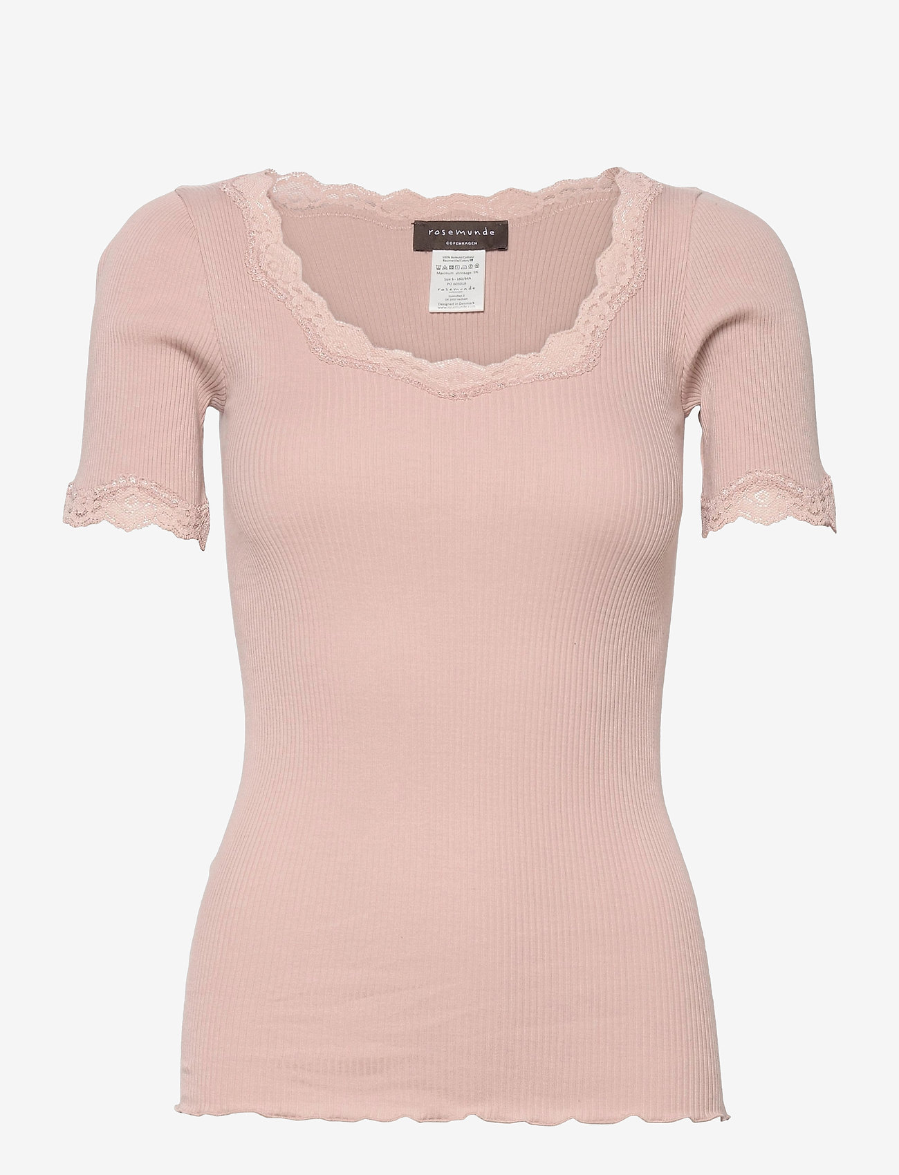 Rosemunde - Organic t-shirt regular ss w/ rev,v - t-shirts - vintage powder - 0