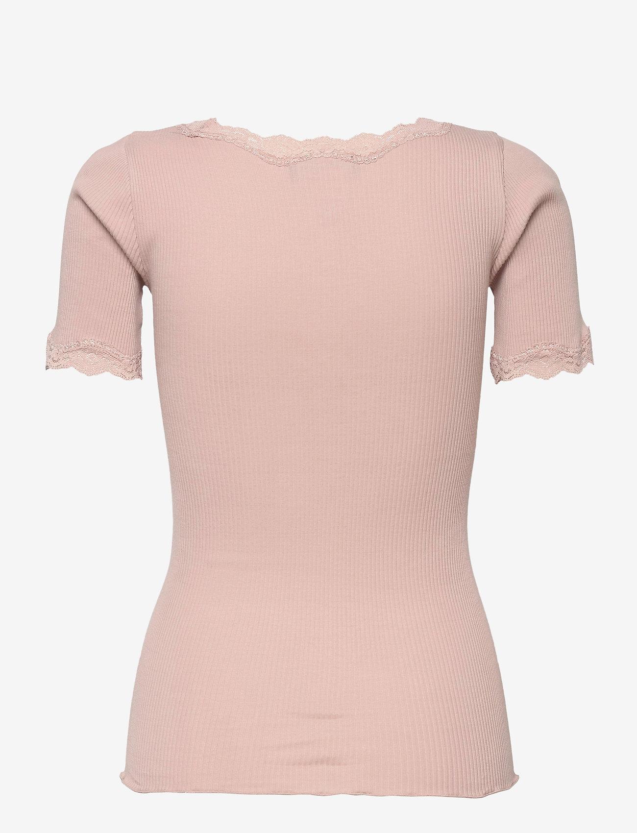 Rosemunde - Organic t-shirt regular ss w/ rev,v - t-shirts - vintage powder - 1