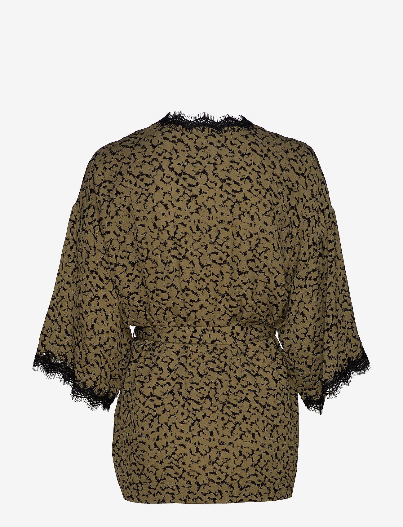 Rosemunde - Jacket 3/4 s - kimona - green blurred blossom print - 1