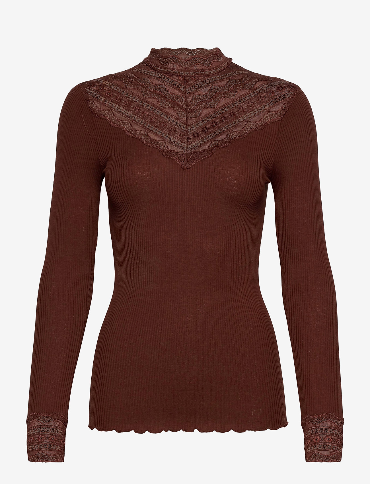 Rosemunde - Silk t-shirt regular ls w/wide lace - langermede topper - chocolate fondant - 0