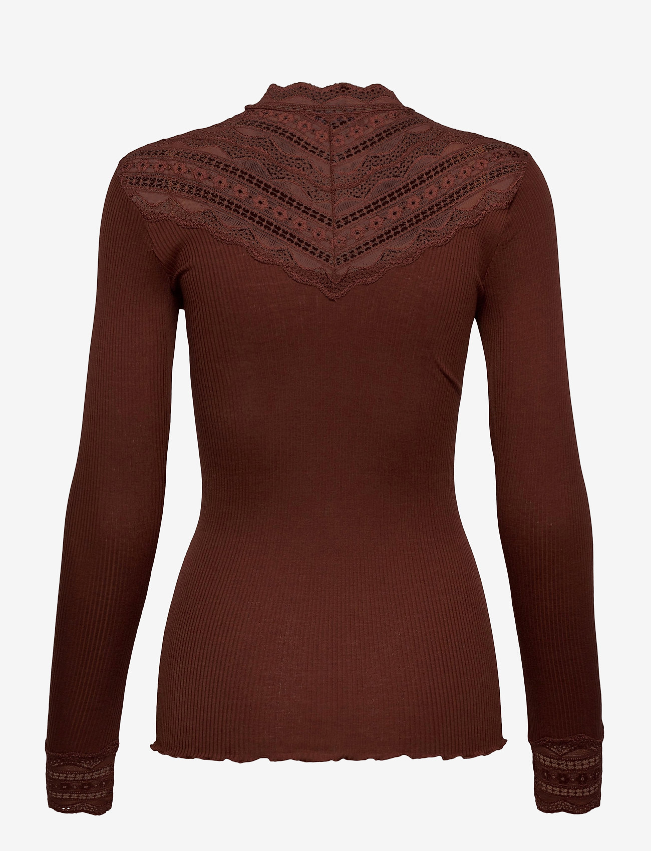 Rosemunde - Silk t-shirt regular ls w/wide lace - langermede topper - chocolate fondant - 1