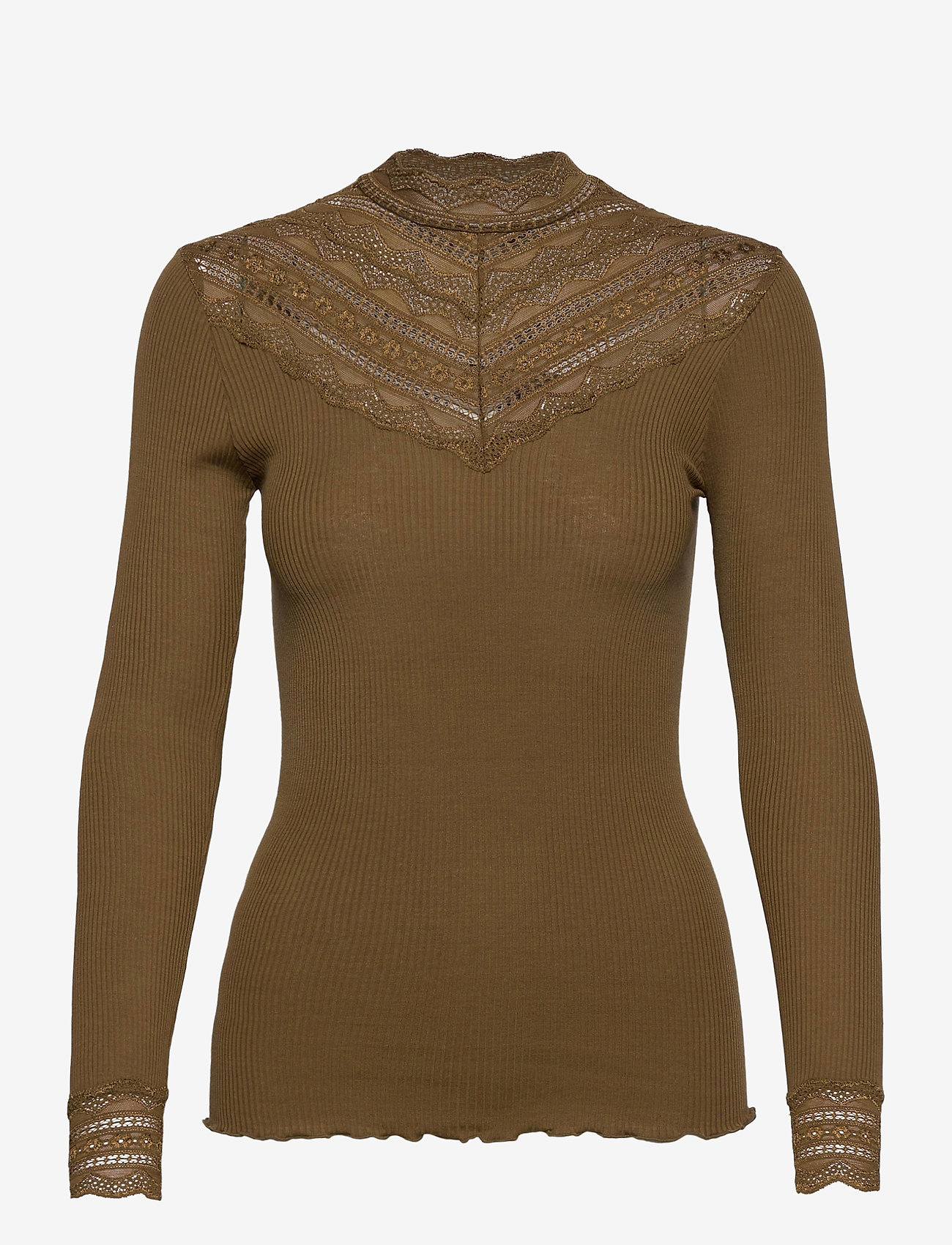 Rosemunde - Silk t-shirt regular ls w/wide lace - langermede topper - military olive - 0