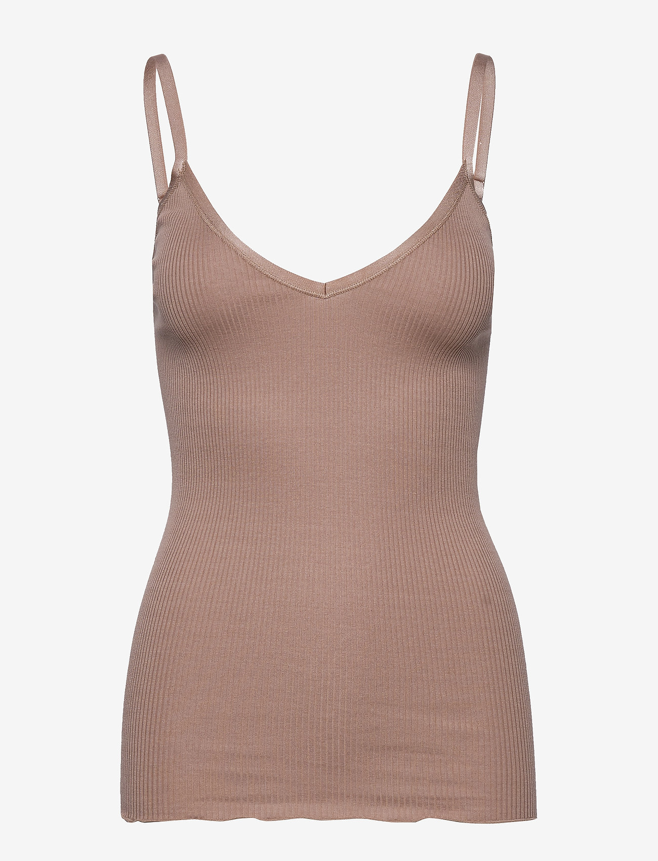 Rosemunde - Silk top w/ elastic band reg, lengt - ermeløse topper - nougat brown - 0