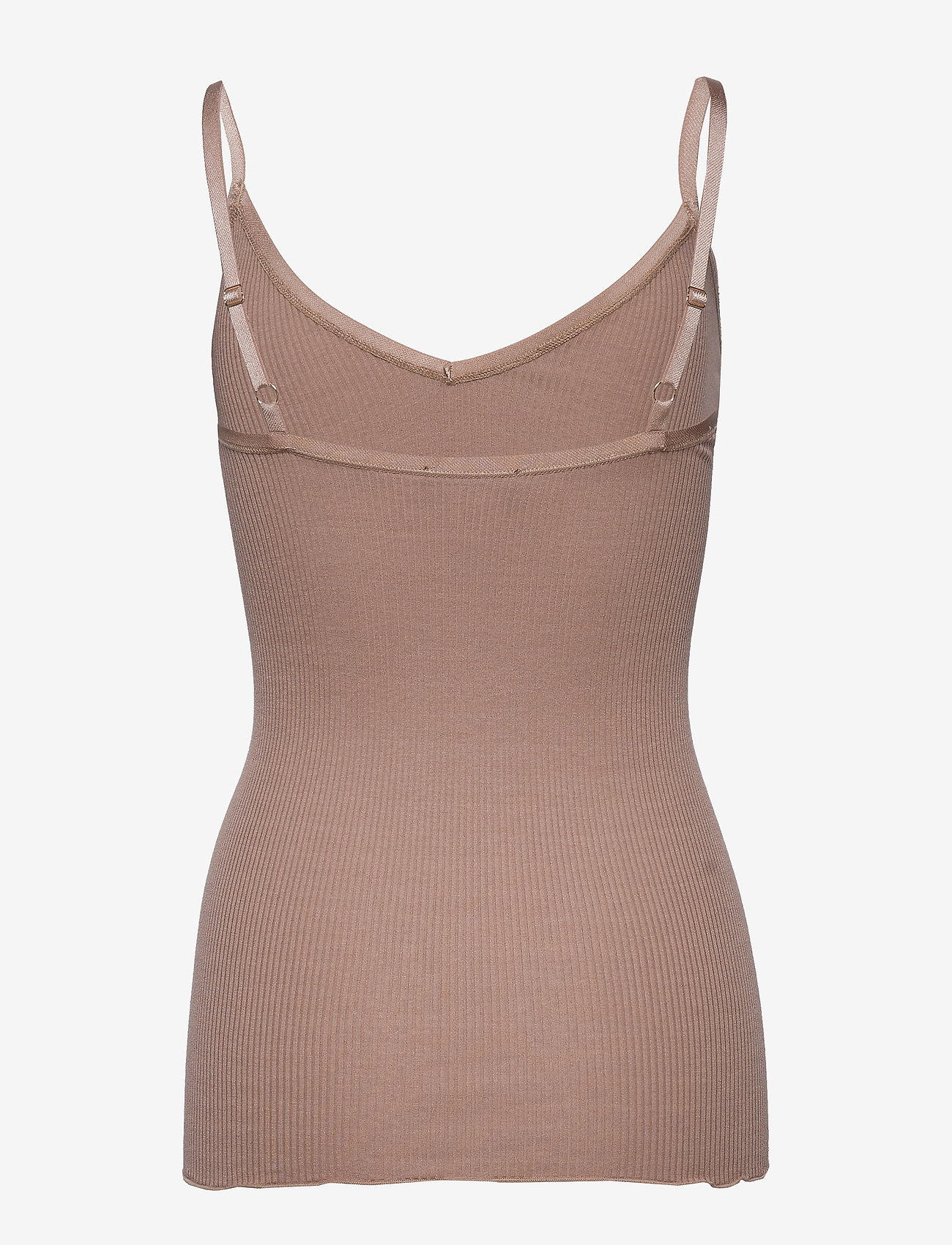 Rosemunde - Silk top w/ elastic band reg, lengt - ermeløse topper - nougat brown - 1