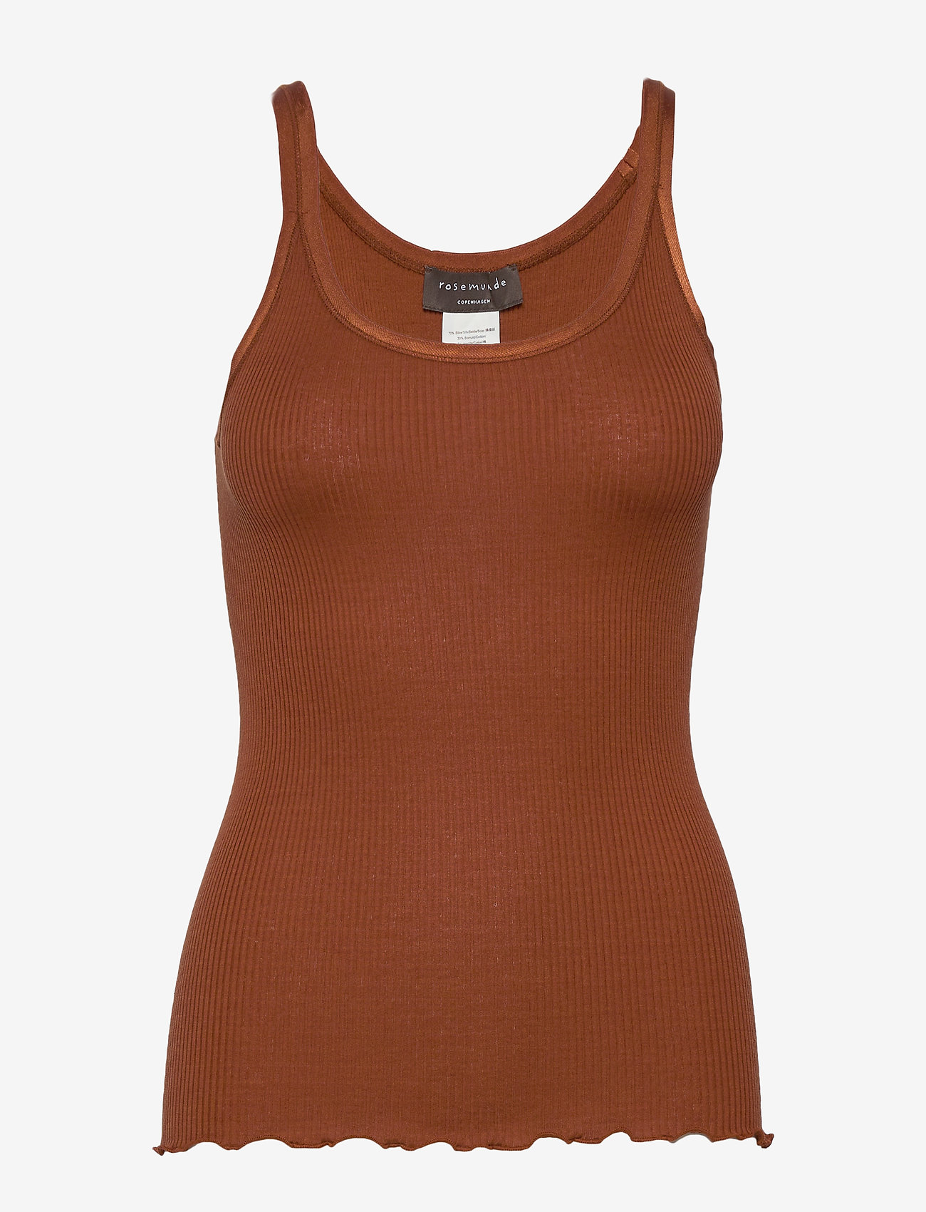 Rosemunde - Silk top regular w/elastic band - ermeløse topper - amber brown - 0