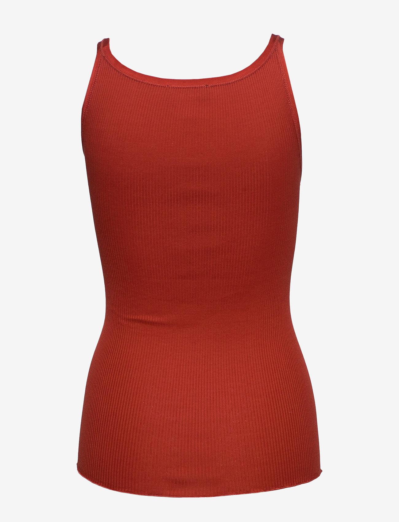 Rosemunde - Silk top regular w/elastic band - ermeløse topper - red ochre - 1