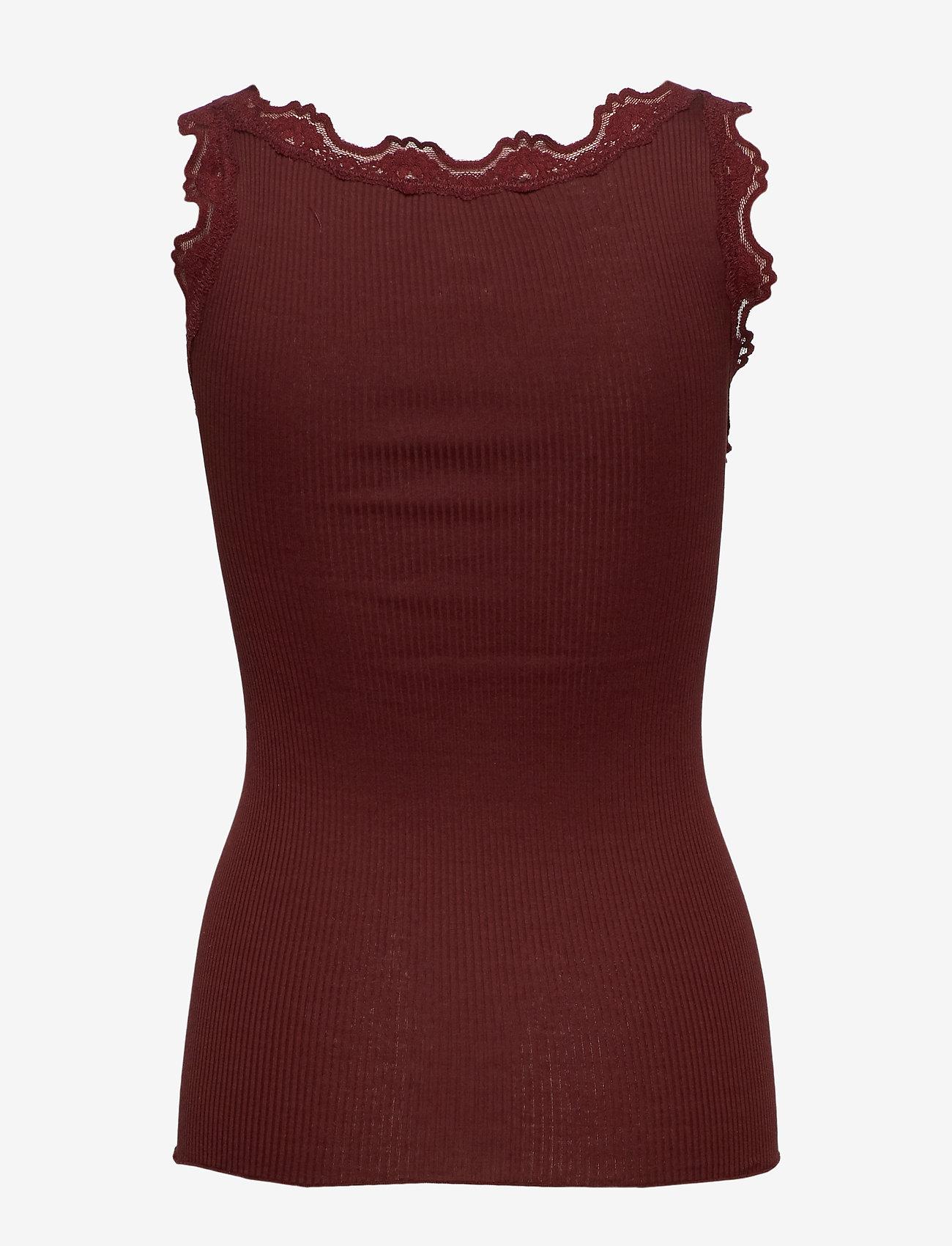Rosemunde - Silk top regular w/vintage lace - tops zonder mouwen - chestnut red
